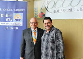 Heart of Florida United Way CEO Bob Brown with Rocco Potami, chef/owner of Rocco's Italian Grille and Bar.