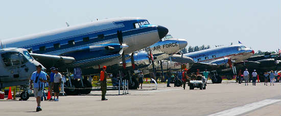 A wide variety of planes can be seen at Sun 'n Fun, including these beautiful DC-3's and other historic and modern aircraft. Photo: Kirk Garreans