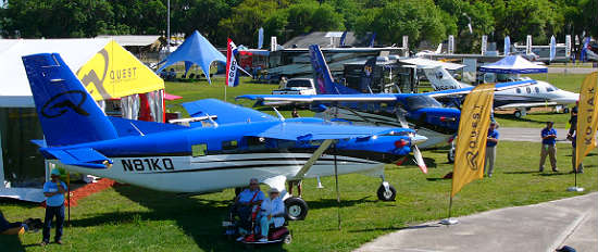 Many manufacturers have their airplanes on display, including these Kodiak planes made by Quest Aircraft. Photo: Kirk Garreans