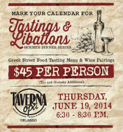 Taverna Opa Orlando hosts a Greek Street Food Wine Dinner