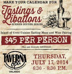 Taverna Opa Orlando hosts a Island of Crete Inspired Wine Dinner