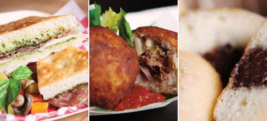 Four Seasons Resorts food truck tour - Pressed Rosemary Focaccia, Arancini al Brasato, Bomboloni