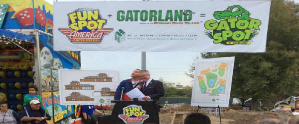 "Gatorland broke ground on a new ""Gator Spot"" at Fun Spot America in Orlando"