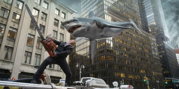 Sharknado - Ian  Ziering fights a shark