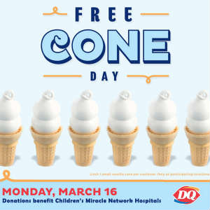 Dairy Queen is hosting Free Cone Day March 16