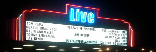 Jim Breuer on the marquee at Plaza Live Orlando
