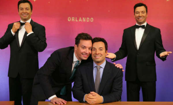 Jimmy Fallon poses with his wax figure heading to Madam Tussauds Orlando