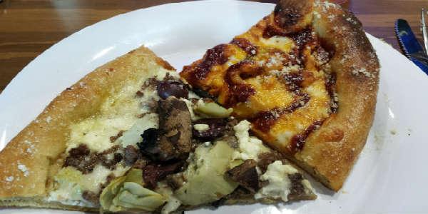 Mellow Mushroom - Funky Q pizza, Philospher's Pie pizza