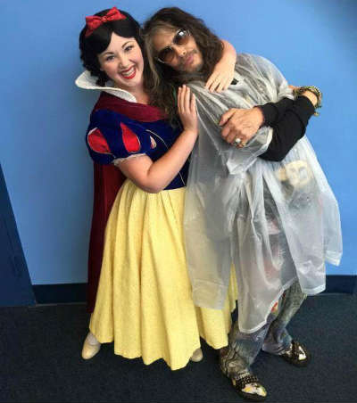 Aerosmith's Steven Tyler meeting Snow White at Walt Disney World