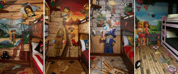 LEGOLAND Hotel Florida - kid's premium bedrooms (l-r: Pirate, Adventure, Kingdom, Friends)