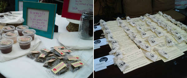 J and G Chocolate and Tea flavored ganaches and truffles; Old Town Taffy samples
