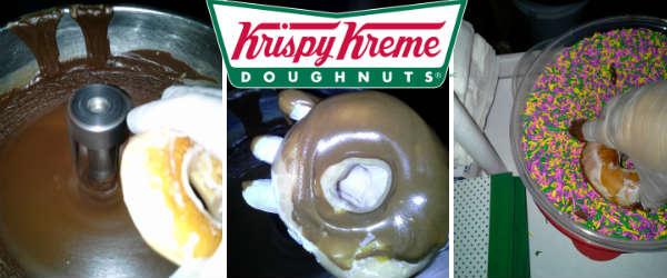 Dipping a Krispy Kreme doughnut into chocolate glaze and sprinkles