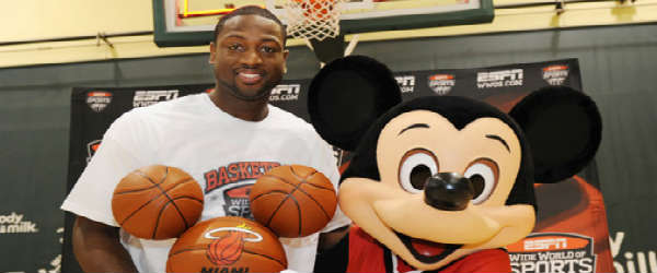Mickey Mouse and an NBA basketball player
