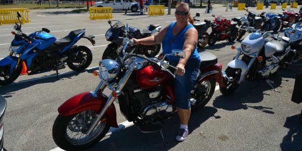 AIMExpo 2015 - Carol on motorcycle