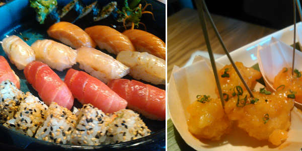 Sushi platter and Shrimp Tempura at Morimoto Asia at Disney Springs