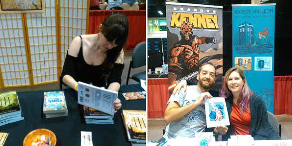 MegaCon Fan Days - Emilyann Girdner signs a book, Brandon Kenney and Karen Hallion pose with their Stitch/BB-8 mash-up