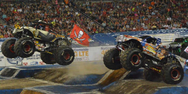 Flying the Tampa Bay Bucs flag at Monster Jam in Tampa Jan 16 2016 by Kirk Garreans