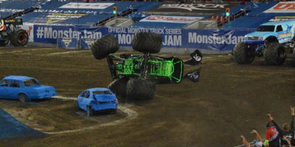 Another wipe-out at Monster Jam in Tampa Jan 16 2016 by Kirk Garreans