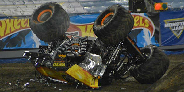 Max-D wipes out at Monster Jam in Tampa Jan 16 2016 by Kirk Garreans