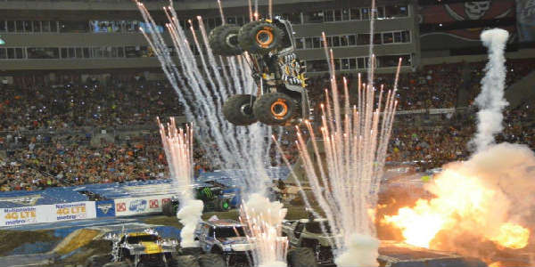 Going airborne during fireworks at Monster Jam in Tampa Jan 16 2016 by Kirk Garreans