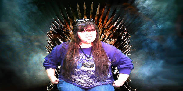 Me on the Game of Thrones Iron Throne courtesy of Melrose Center at Otronicon