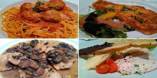 Tutto Italia - appetizers - spaghetti, Filetto di Sogliola, Scaloppine di Pollo, Caesar Salad