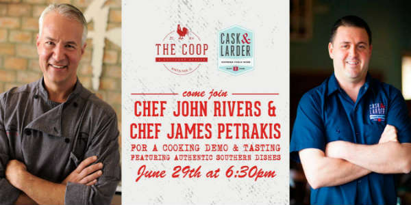 Chef James Petrakis of Cask & Larder will join Chef John Rivers for cooking demo and tasting at his restaurant, The COOP, on June 29