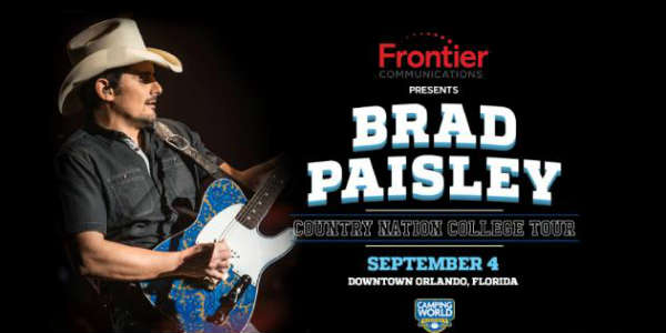 Brad Paisley brings his annual Country Nation College Tour presented by Frontier Communications to Orlando