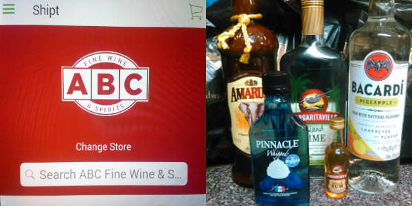 Shipt and ABC Fine Wine & Spirits offer home delivery in Orlando