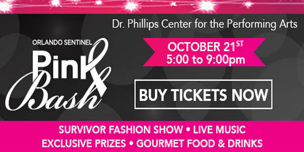 Orlando Sentinel Pink Bash returns October 21 to the Seneff Arts Plaza at Dr. Phillips Center to benefit Libby's Legacy Breast Cancer Foundation.
