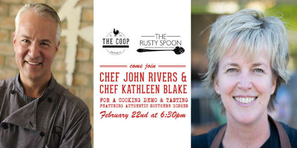 As part of The COOP's Guest Chef Series, Chef John Rivers will be joined by Rusty Spoon's Chef Kathleen Blake on February 22.