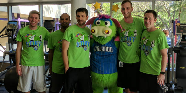Let's Move for a Better World with YMCA and Stuff the Orlando Magic Mascot -  photo by Anna-Marie Walsh