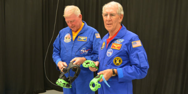 The New Astronaut Training Experience at Kennedy Space Center Visitor Complex -Astronauts Jon McBride and Bob Springer