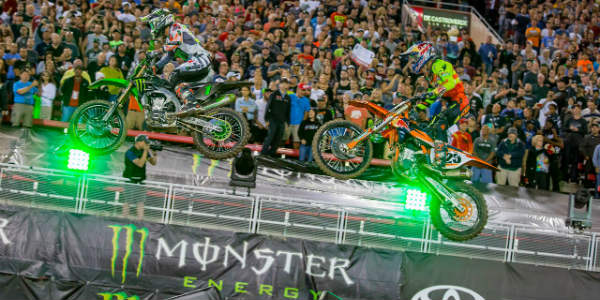 Monster Energy Supercross rides into Raymond James Stadium in Tampa on February 24, 2018, and we have a discount code to save $5 off tickets.