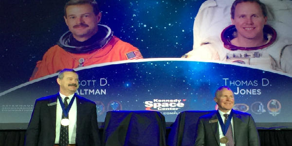 Saturday, April 21, in a ceremony set beneath space shuttle Atlantis at Kennedy Space Center Visitor Complex, two veteran astronauts, Thomas D. Jones, PhD and Captain Scott D. Altman, were inducted into the U.S. Astronaut Hall of Fame