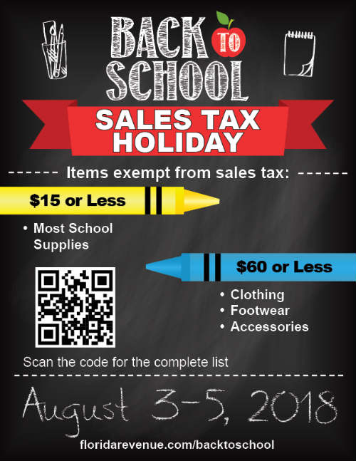 the Florida Back-to-School Sales Tax Holiday returns from August 3-5, 2018.