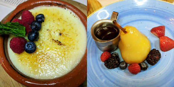 Crema Catalana and Poached Pear with Raspberry Sauce at Bulla Gastrobar in Winter Park