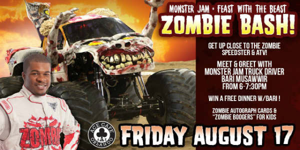 Meet famed Monster Jam Zombie driver Bari Musawwir and get up close to his customized vehicles during a free event at Ace Cafe Orlando, in partnership with iHeart Radio, on August 17, 2018.