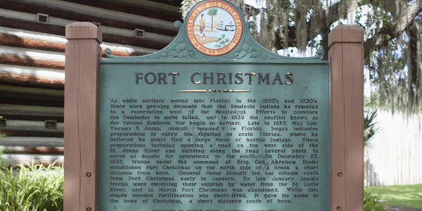 Fort Christmas was built in present-day Christmas, Florida during the Second Seminole War. Construction began on December 25, 1837, with the arrival of 2,000 U.S. Army soldiers and Alabama volunteers.