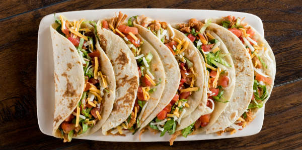 A platter of tacos from On the Border.