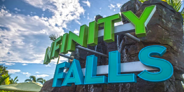 Infinity Falls at SeaWorld Orlando features roaring rapids, soaking fountains and a record-setting 40-foot waterfall drop, all against the backdrop of a rainforest utopia in this white-water raft ride.
