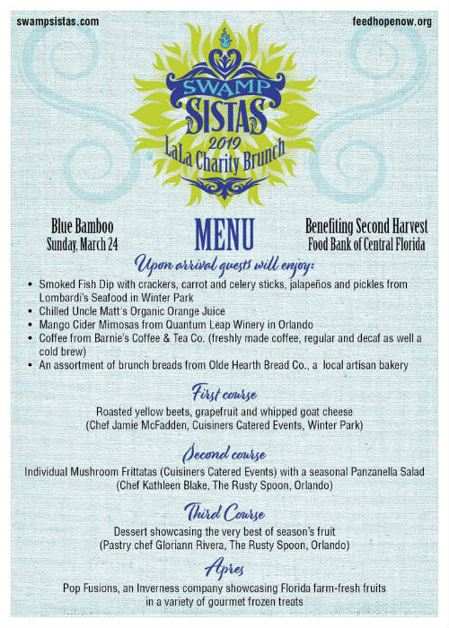Swamp Sistas La La Charity Brunch menu