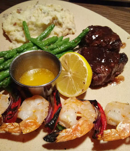 Tony Roma's Filet Medallions with Diane Sauce and Grilled Shrimp with 3-Citrus Butter
