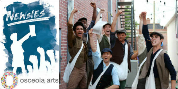 Image of cast for Disney's Newsies at Osceola Arts