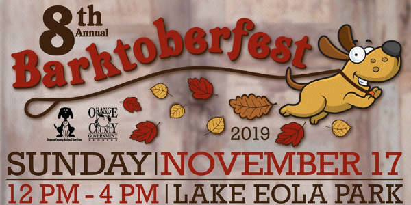 Orange County Animal Services will host the 8th annual Barktoberfest on Sunday, November 17 at Lake Eola Park in Orlando.