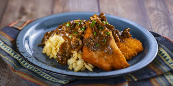 Epcot International Festival of the Holidays -Pork Schnitzel with Mushroom Sauce and Spätzle