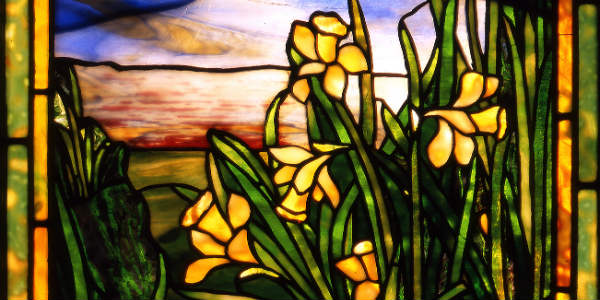 c. 1916 daffodils window by Tiffany Studios courtesy The Charles Hosmer Morse Museum of American Art