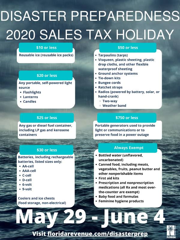 2020 Disaster Preparedness Sales Tax Holiday