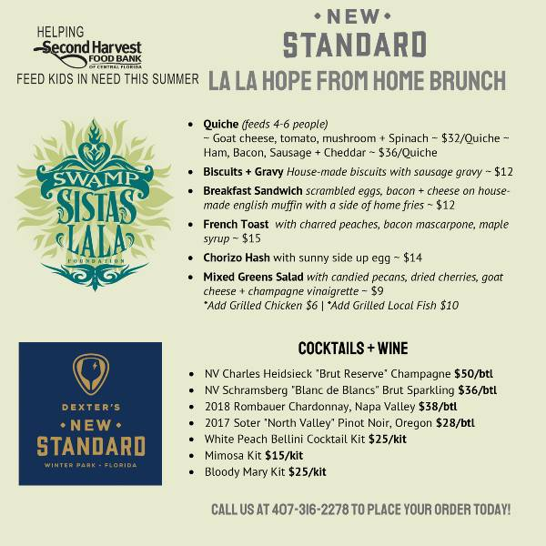 Swamp Sistas La La Hope From Home: Virtual Brunch menu from The New Standard Winter Park