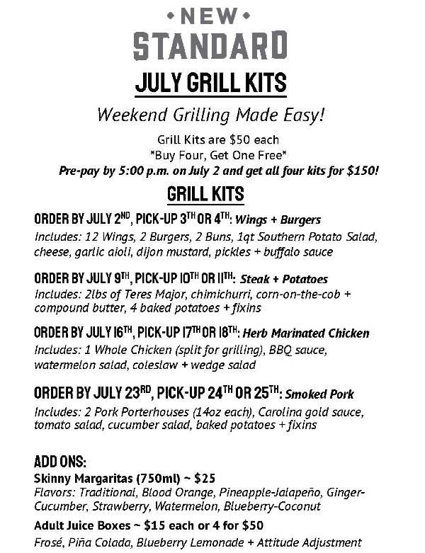 The New Standard, Winter Park - Grill Kits